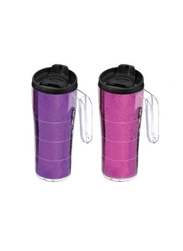 Herevin Herevin 161487-014 Simli Konik Kulplu Mug Kahve Bardağı 440cc Renkli